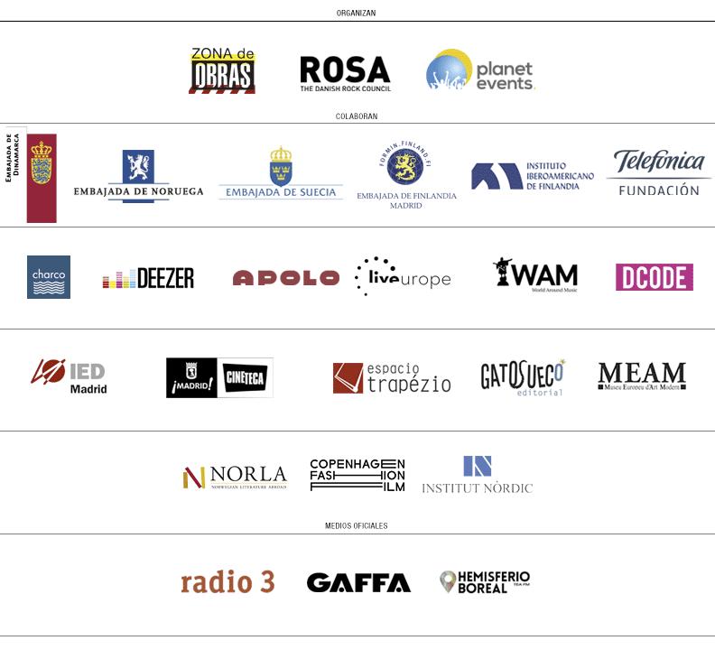 Días Nórdicos 2015 España. Logos patrocinadores, colaboradores y medios